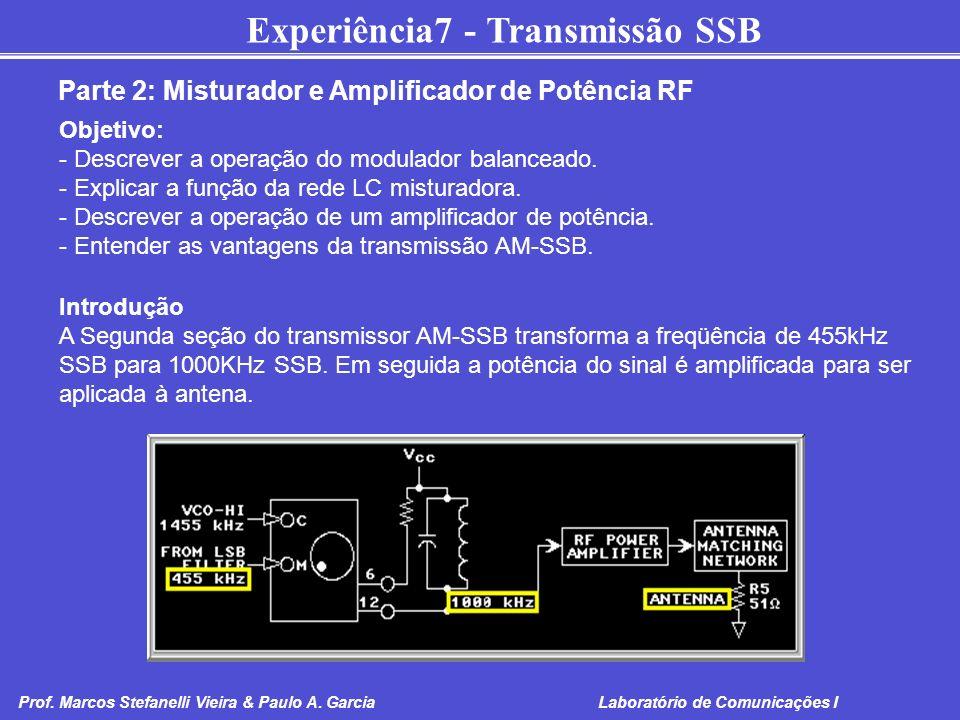 Experiência7 - Transmissão SSB Prof. Marcos Stefanelli Vieira & Paulo A. Garcia Laboratório de Comunicações I Parte 2: Misturador e Amplificador de Po