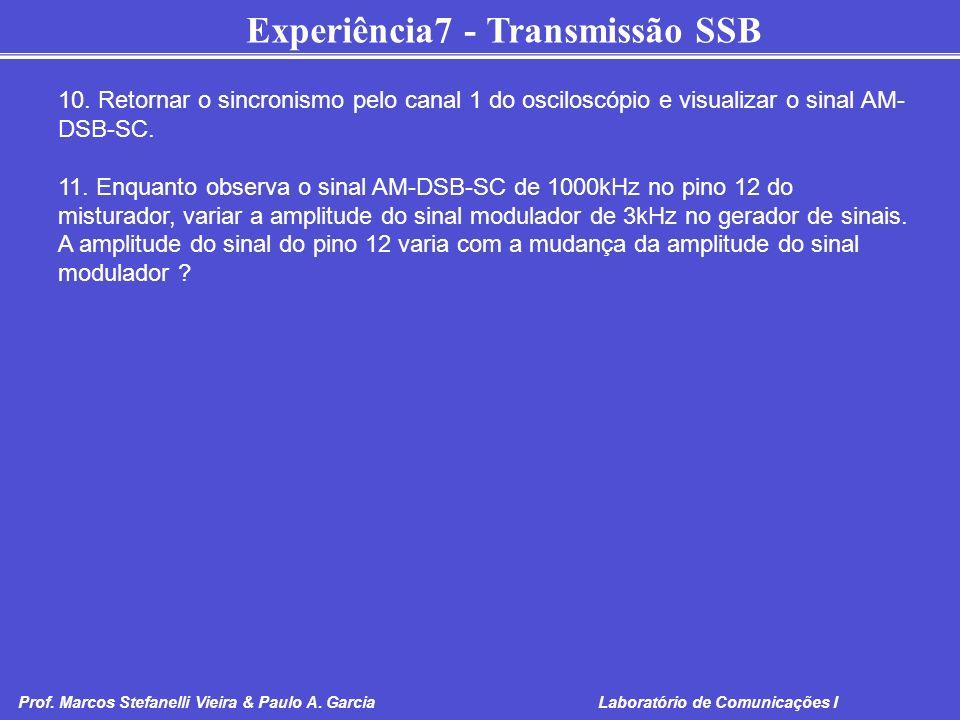 Experiência7 - Transmissão SSB Prof. Marcos Stefanelli Vieira & Paulo A. Garcia Laboratório de Comunicações I 10. Retornar o sincronismo pelo canal 1