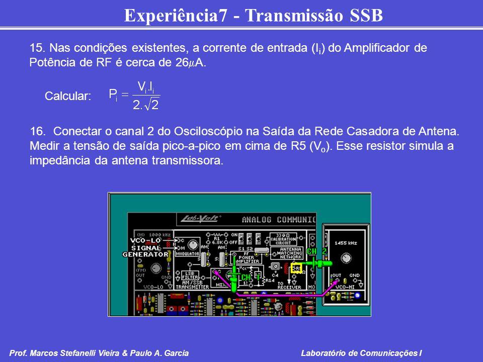 Experiência7 - Transmissão SSB Prof. Marcos Stefanelli Vieira & Paulo A. Garcia Laboratório de Comunicações I 15. Nas condições existentes, a corrente