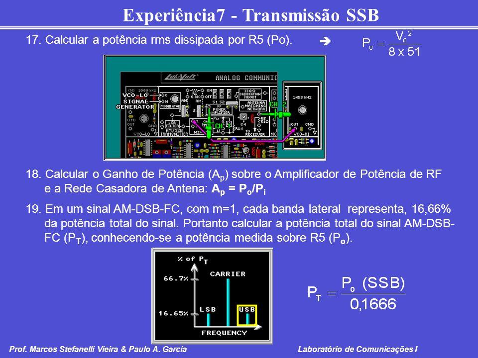 Experiência7 - Transmissão SSB Prof. Marcos Stefanelli Vieira & Paulo A. Garcia Laboratório de Comunicações I 17. Calcular a potência rms dissipada po