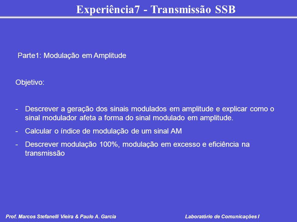 Experiência7 - Transmissão SSB Prof. Marcos Stefanelli Vieira & Paulo A. Garcia Laboratório de Comunicações I Parte1: Modulação em Amplitude Objetivo: