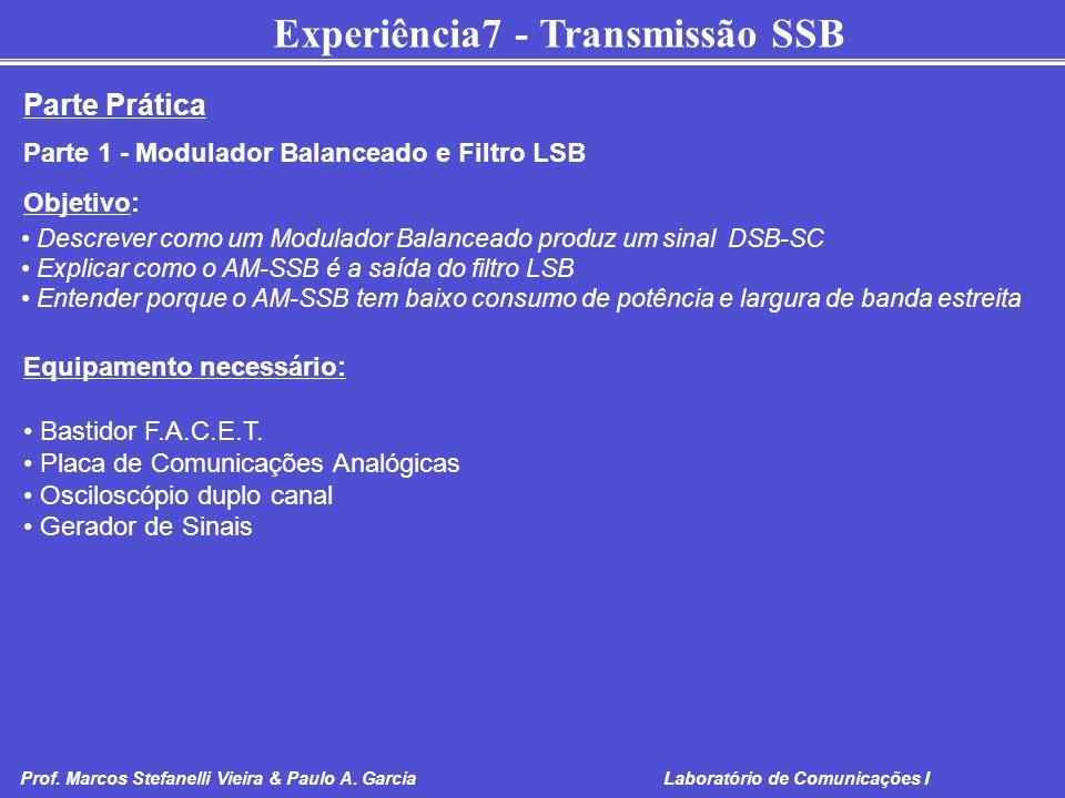 Experiência7 - Transmissão SSB Prof. Marcos Stefanelli Vieira & Paulo A. Garcia Laboratório de Comunicações I Parte Prática Parte 1 - Modulador Balanc