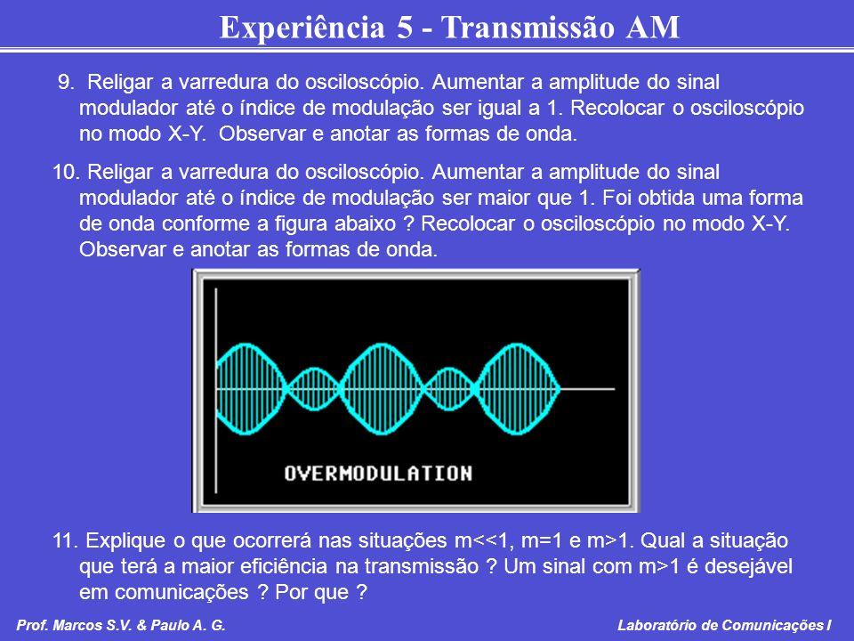 Experiência 5 - Transmissão AM Prof. Marcos S.V. & Paulo A. G. Laboratório de Comunicações I 9. Religar a varredura do osciloscópio. Aumentar a amplit