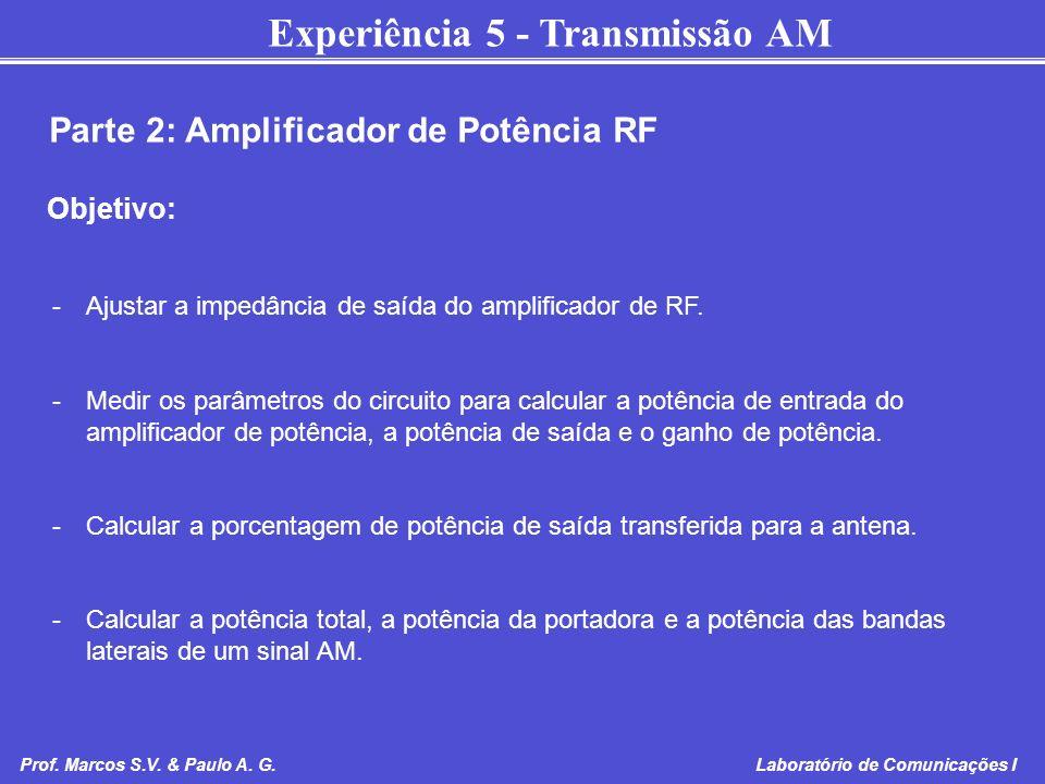 Experiência 5 - Transmissão AM Prof. Marcos S.V. & Paulo A. G. Laboratório de Comunicações I Parte 2: Amplificador de Potência RF Objetivo: -Ajustar a