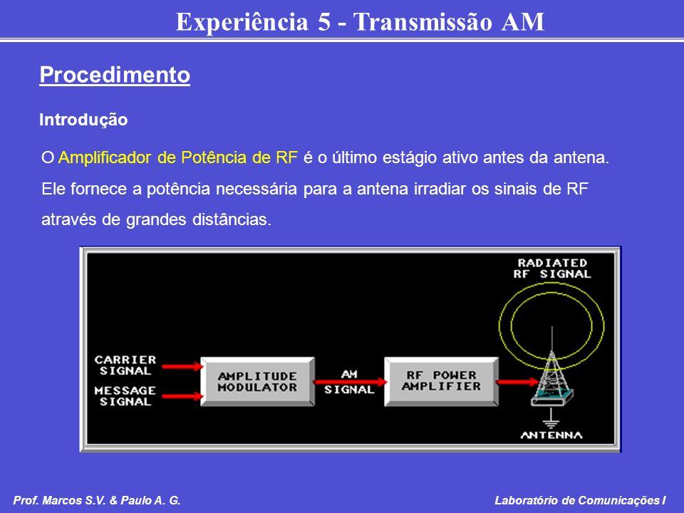Experiência 5 - Transmissão AM Prof. Marcos S.V. & Paulo A. G. Laboratório de Comunicações I O Amplificador de Potência de RF é o último estágio ativo