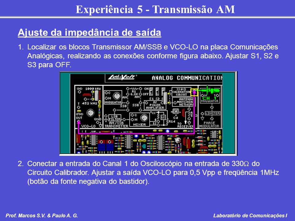 Experiência 5 - Transmissão AM Prof. Marcos S.V. & Paulo A. G. Laboratório de Comunicações I Ajuste da impedância de saída 1.Localizar os blocos Trans