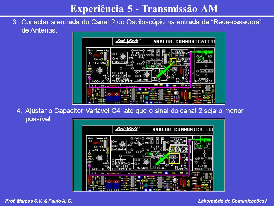Experiência 5 - Transmissão AM Prof. Marcos S.V. & Paulo A. G. Laboratório de Comunicações I 3.Conectar a entrada do Canal 2 do Osciloscópio na entrad