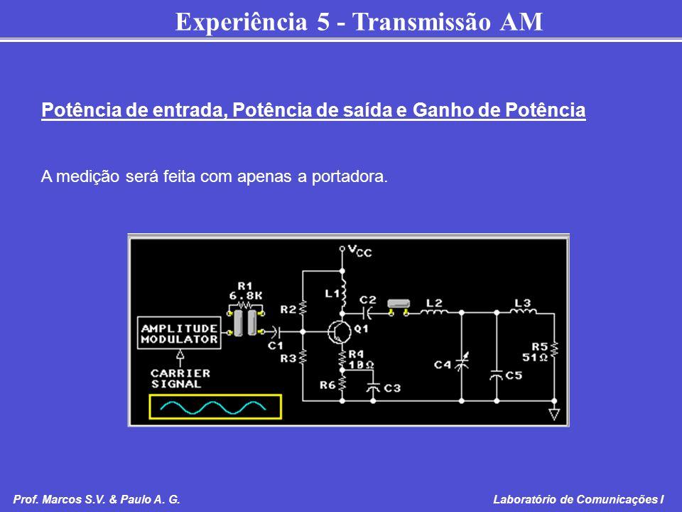 Experiência 5 - Transmissão AM Prof. Marcos S.V. & Paulo A. G. Laboratório de Comunicações I Potência de entrada, Potência de saída e Ganho de Potênci