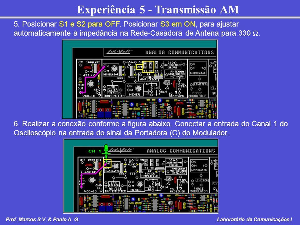 Experiência 5 - Transmissão AM Prof. Marcos S.V. & Paulo A. G. Laboratório de Comunicações I 5. Posicionar S1 e S2 para OFF. Posicionar S3 em ON, para