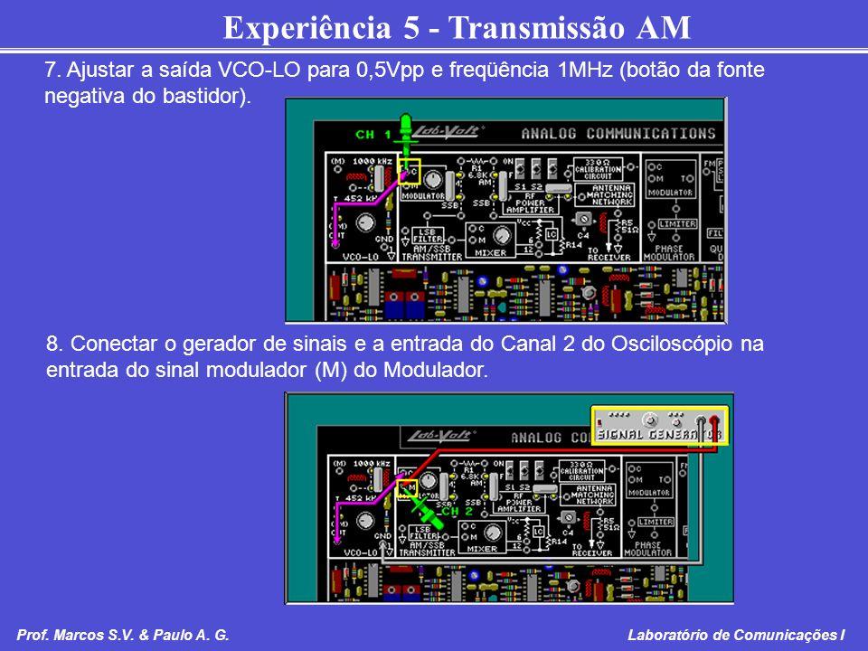 Experiência 5 - Transmissão AM Prof. Marcos S.V. & Paulo A. G. Laboratório de Comunicações I 7. Ajustar a saída VCO-LO para 0,5Vpp e freqüência 1MHz (