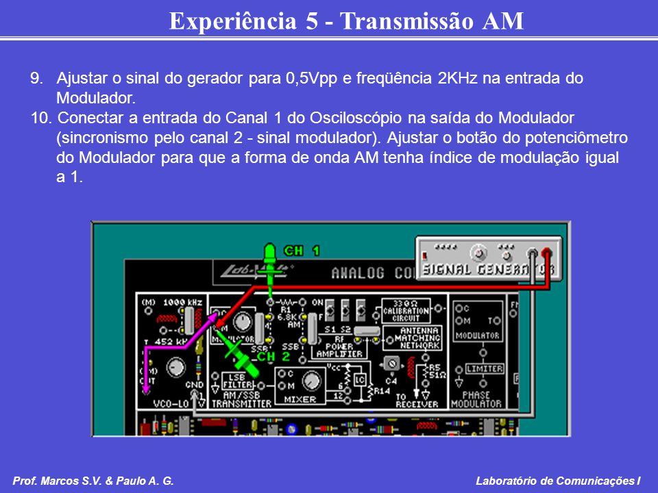 Experiência 5 - Transmissão AM Prof. Marcos S.V. & Paulo A. G. Laboratório de Comunicações I 9. Ajustar o sinal do gerador para 0,5Vpp e freqüência 2K