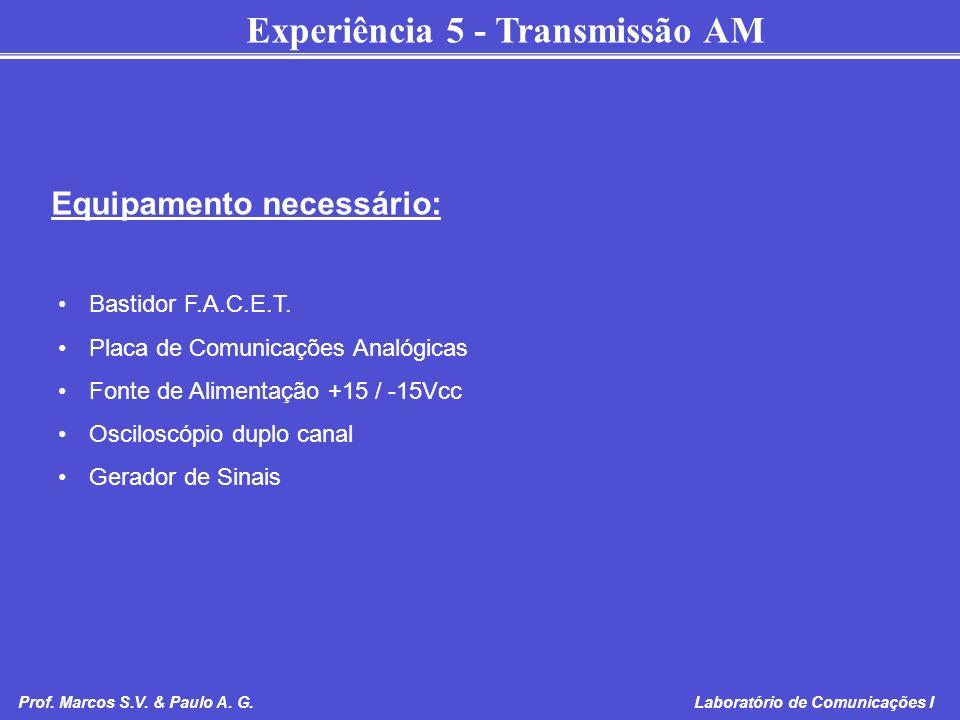 Experiência 5 - Transmissão AM Prof. Marcos S.V. & Paulo A. G. Laboratório de Comunicações I Bastidor F.A.C.E.T. Placa de Comunicações Analógicas Font