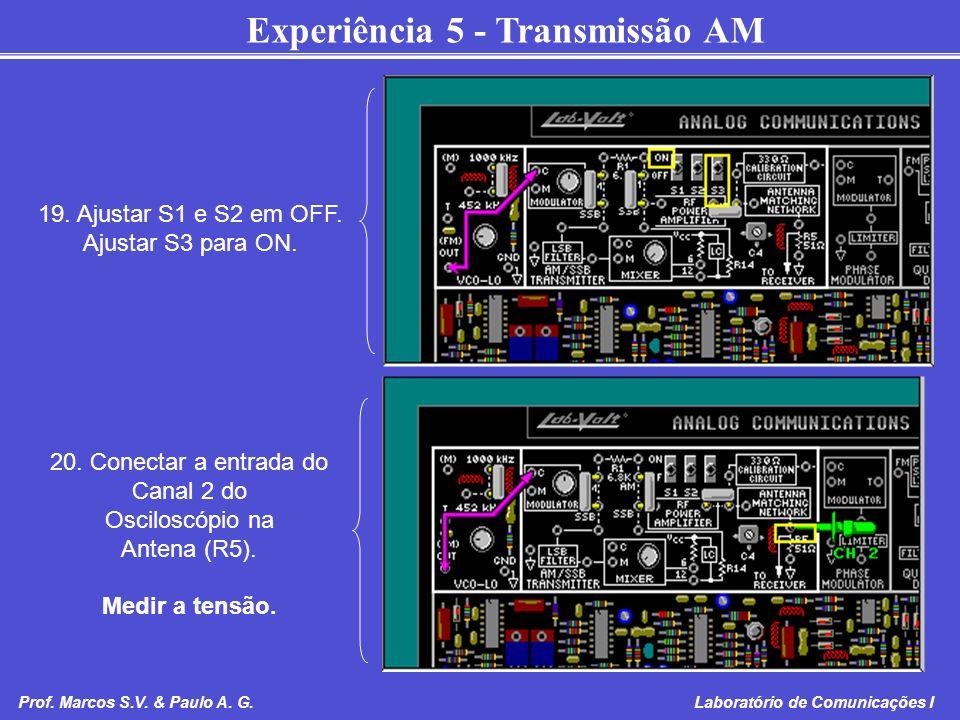 Experiência 5 - Transmissão AM Prof. Marcos S.V. & Paulo A. G. Laboratório de Comunicações I 19. Ajustar S1 e S2 em OFF. Ajustar S3 para ON. 20. Conec