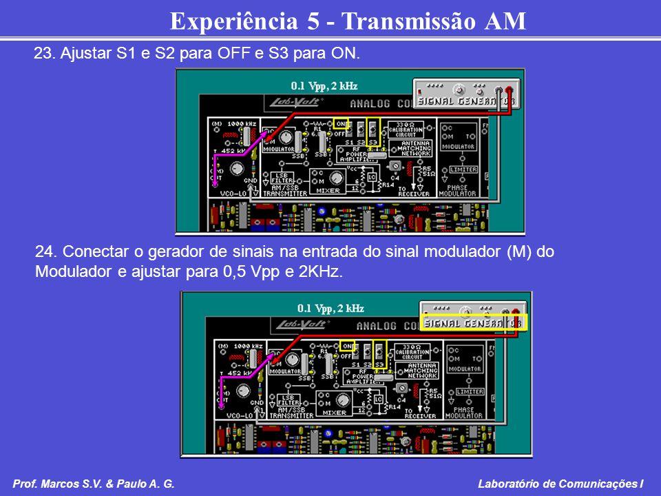 Experiência 5 - Transmissão AM Prof. Marcos S.V. & Paulo A. G. Laboratório de Comunicações I 23. Ajustar S1 e S2 para OFF e S3 para ON. 24. Conectar o