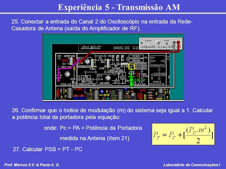 Experiência 5 - Transmissão AM Prof. Marcos S.V. & Paulo A. G. Laboratório de Comunicações I 25. Conectar a entrada do Canal 2 do Osciloscópio na entr