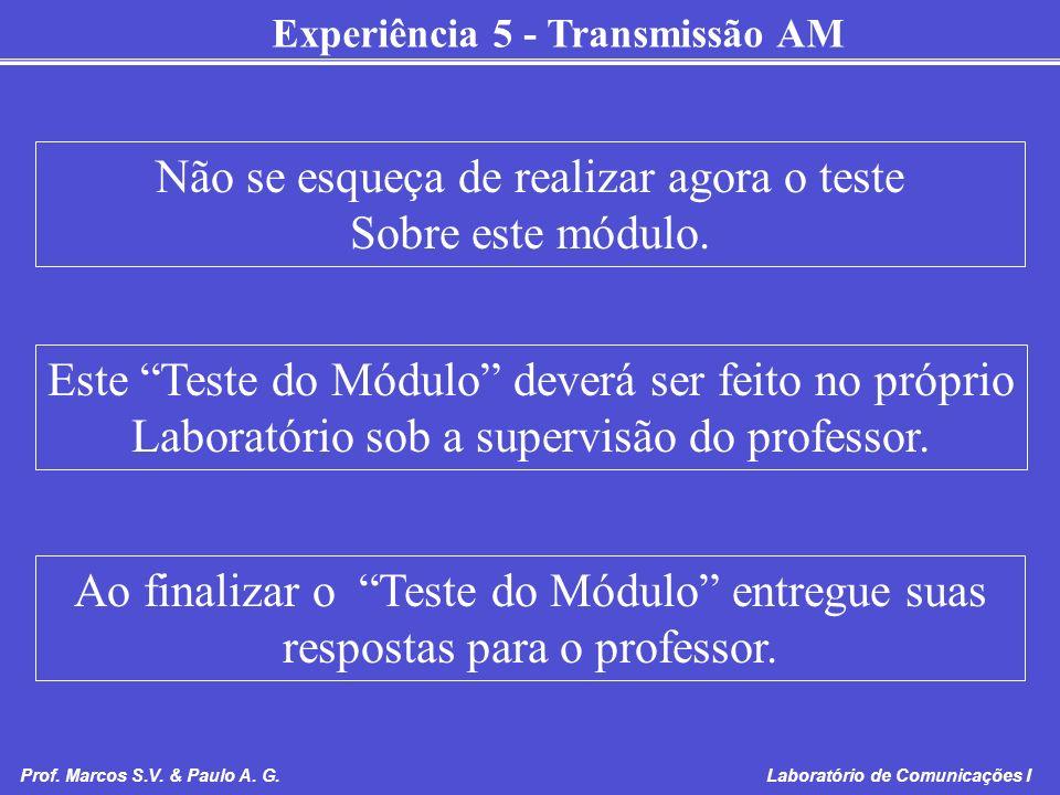 Experiência 5 - Transmissão AM Prof. Marcos S.V. & Paulo A. G. Laboratório de Comunicações I Não se esqueça de realizar agora o teste Sobre este módul