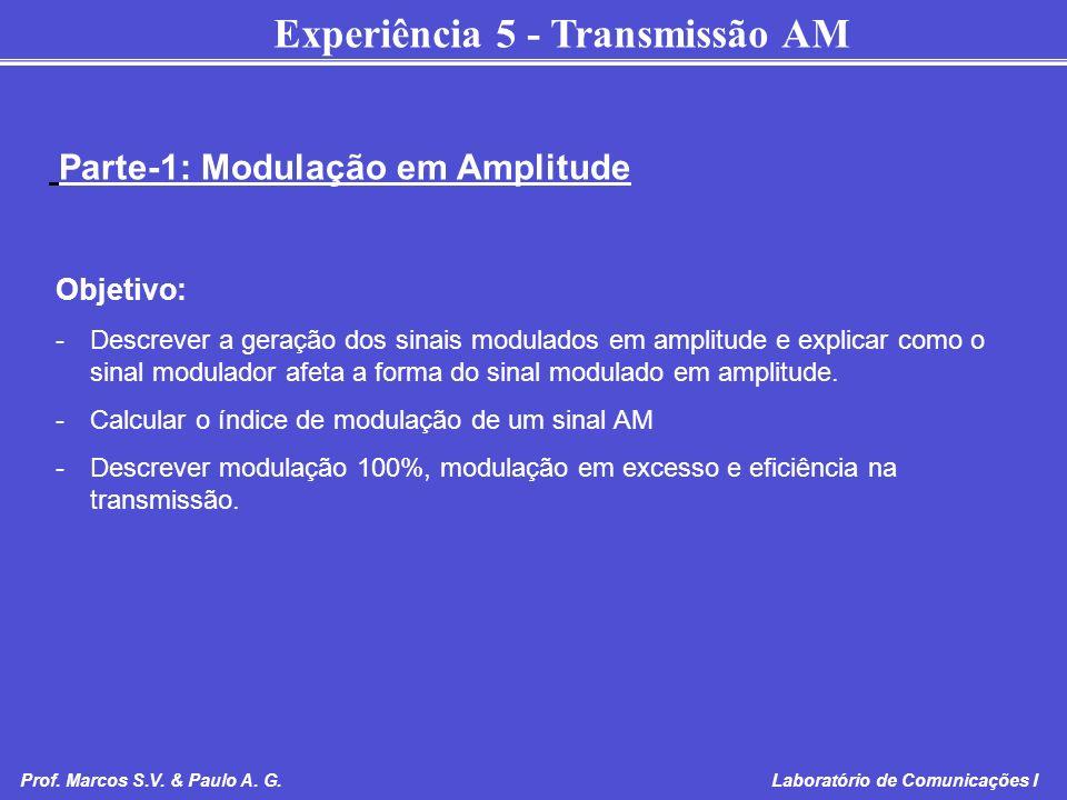 Experiência 5 - Transmissão AM Prof. Marcos S.V. & Paulo A. G. Laboratório de Comunicações I Objetivo: -Descrever a geração dos sinais modulados em am