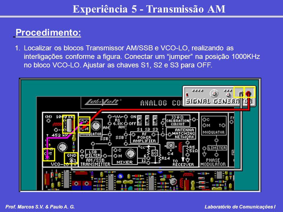 Experiência 5 - Transmissão AM Prof. Marcos S.V. & Paulo A. G. Laboratório de Comunicações I 1.Localizar os blocos Transmissor AM/SSB e VCO-LO, realiz