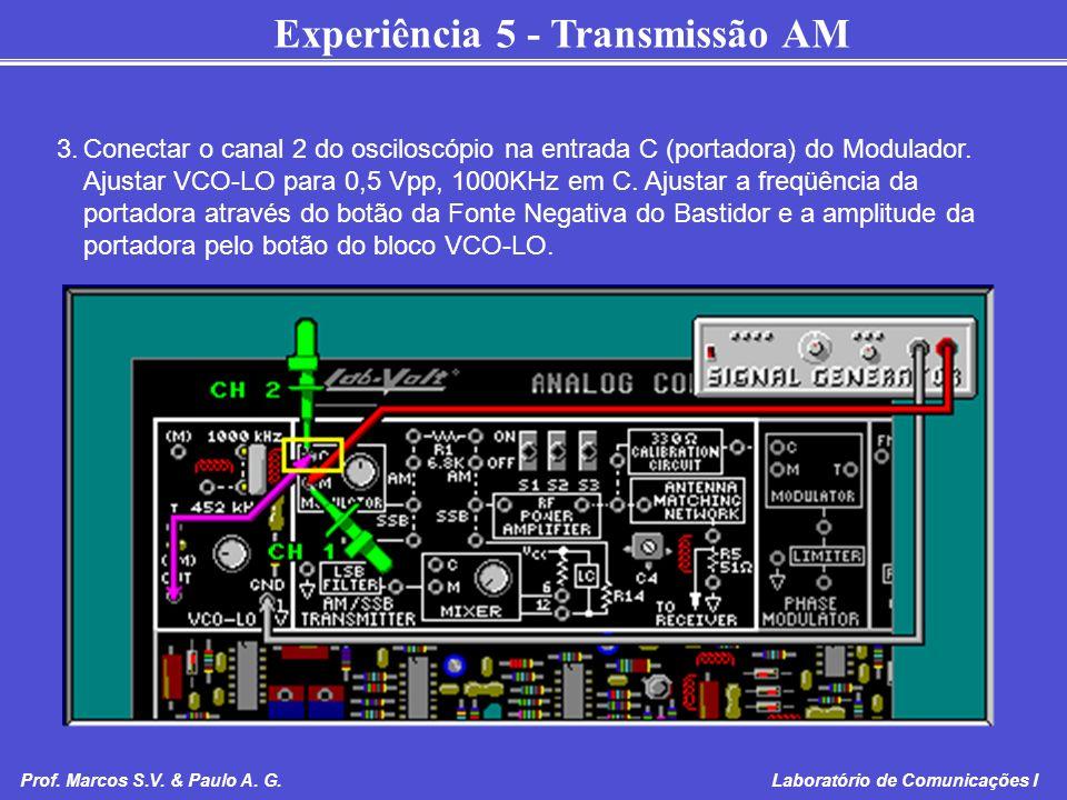 Experiência 5 - Transmissão AM Prof. Marcos S.V. & Paulo A. G. Laboratório de Comunicações I 3.Conectar o canal 2 do osciloscópio na entrada C (portad
