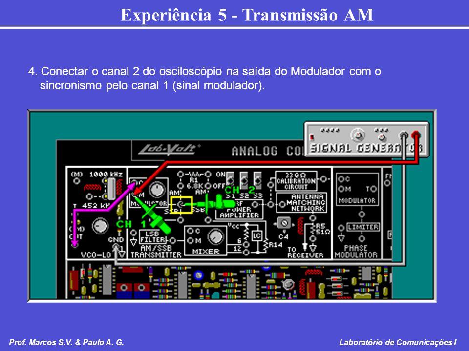 Experiência 5 - Transmissão AM Prof. Marcos S.V. & Paulo A. G. Laboratório de Comunicações I 4. Conectar o canal 2 do osciloscópio na saída do Modulad