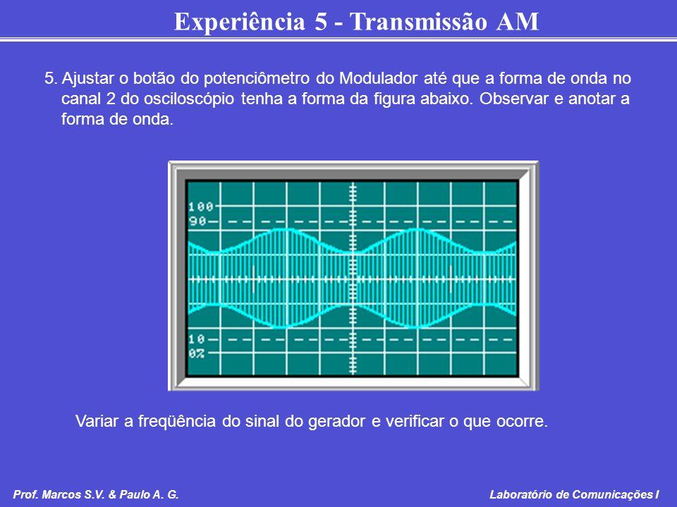 Experiência 5 - Transmissão AM Prof. Marcos S.V. & Paulo A. G. Laboratório de Comunicações I 5. Ajustar o botão do potenciômetro do Modulador até que