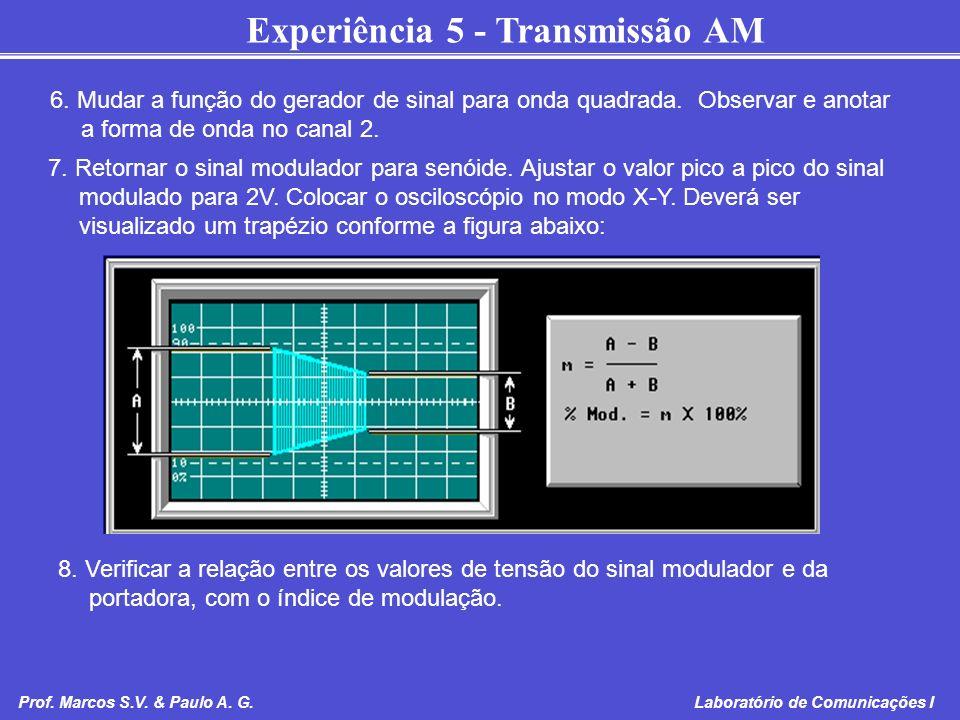 Experiência 5 - Transmissão AM Prof. Marcos S.V. & Paulo A. G. Laboratório de Comunicações I 6. Mudar a função do gerador de sinal para onda quadrada.