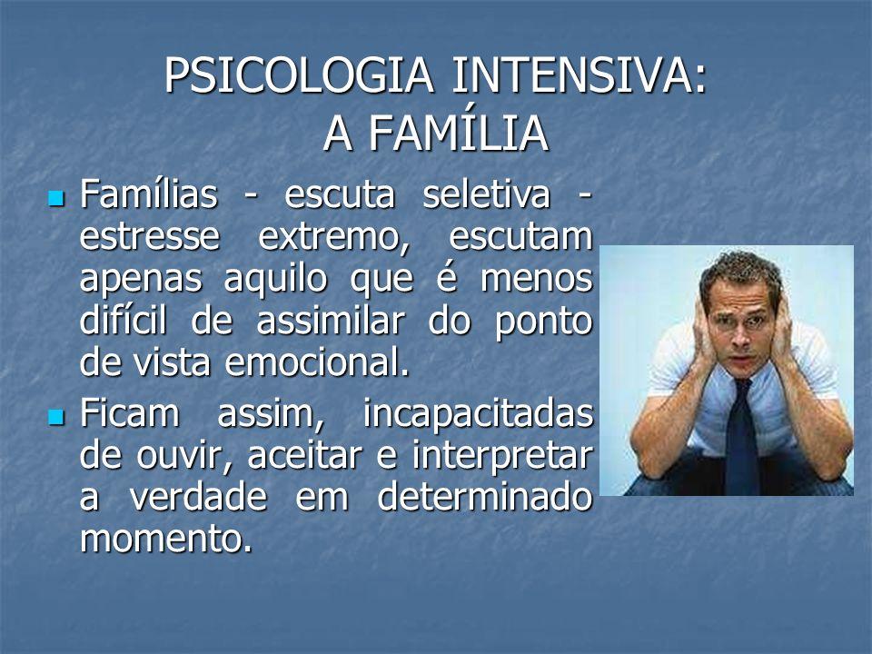 PSICOLOGIA INTENSIVA: A FAMÍLIA Famílias - escuta seletiva - estresse extremo, escutam apenas aquilo que é menos difícil de assimilar do ponto de vist