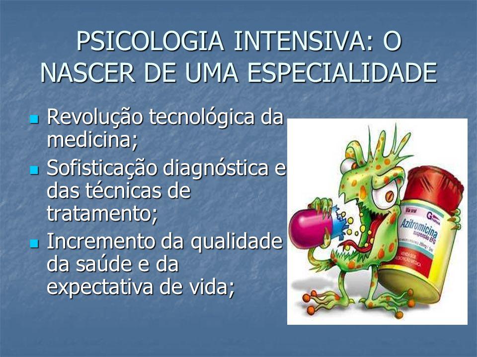 PSICOLOGIA INTENSIVA: O NASCER DE UMA ESPECIALIDADE Revolução tecnológica da medicina; Revolução tecnológica da medicina; Sofisticação diagnóstica e d