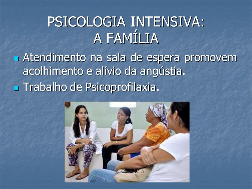 PSICOLOGIA INTENSIVA: A FAMÍLIA Atendimento na sala de espera promovem acolhimento e alívio da angústia. Atendimento na sala de espera promovem acolhi