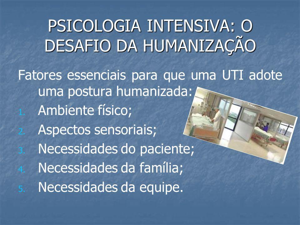PSICOLOGIA INTENSIVA: O DESAFIO DA HUMANIZAÇÃO Fatores essenciais para que uma UTI adote uma postura humanizada: 1. 1. Ambiente físico; 2. 2. Aspectos