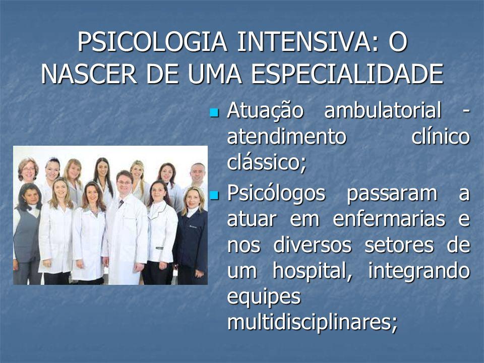 PSICOLOGIA INTENSIVA: O NASCER DE UMA ESPECIALIDADE Possibilidades de atuação do Psicólogo Hospitalar: Possibilidades de atuação do Psicólogo Hospitalar: - Hospitais gerais; - Hospitais especializados; Ex.