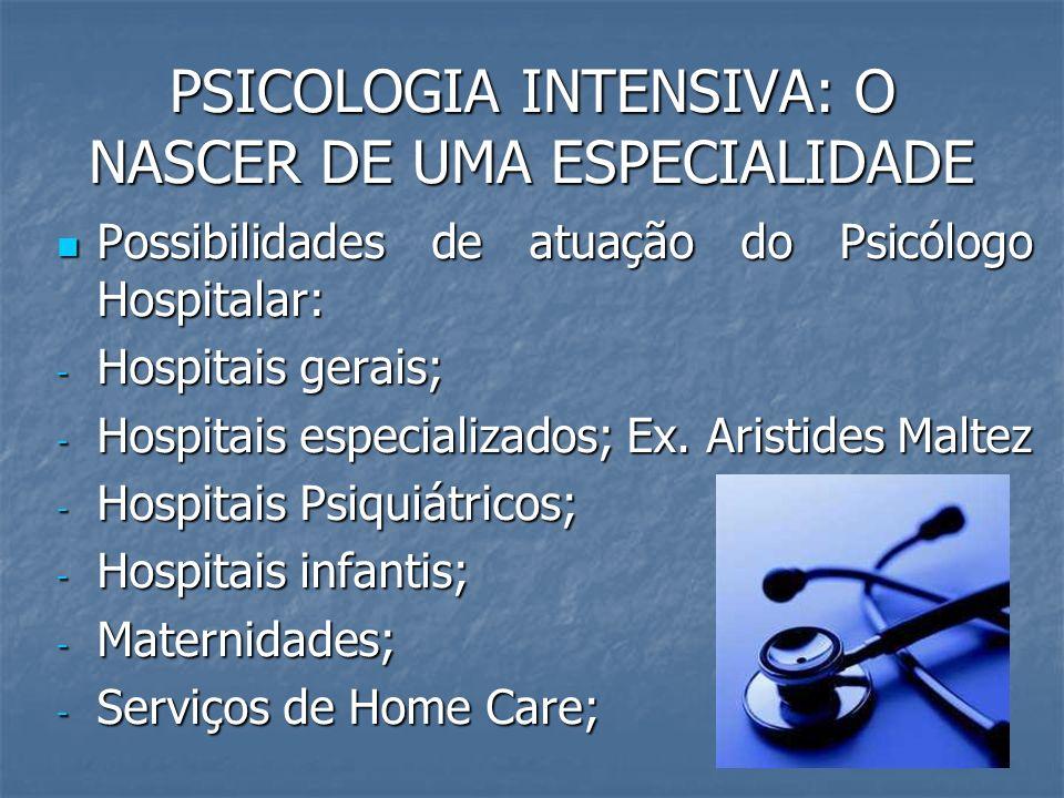 PSICOLOGIA INTENSIVA: O NASCER DE UMA ESPECIALIDADE Possibilidades de atuação do Psicólogo Hospitalar: Possibilidades de atuação do Psicólogo Hospital