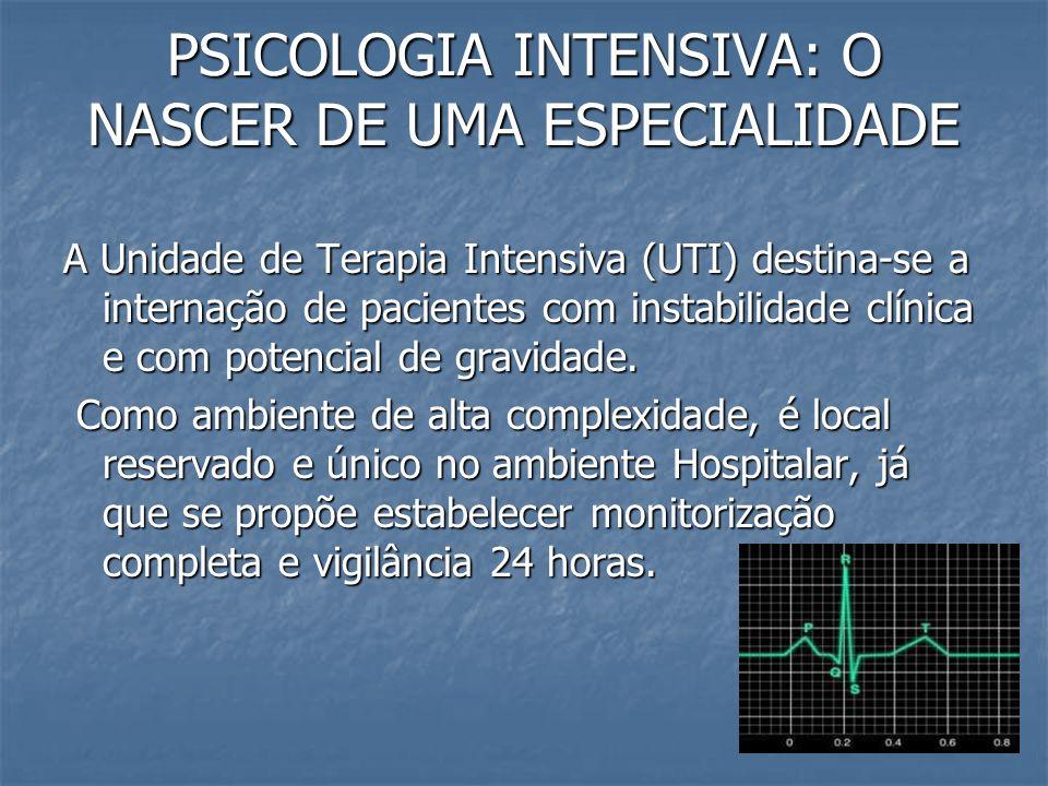 PSICOLOGIA INTENSIVA: O NASCER DE UMA ESPECIALIDADE As UTIs desde da década de 1930 transformaram o prognóstico, reduzindo os óbitos em até 70%.