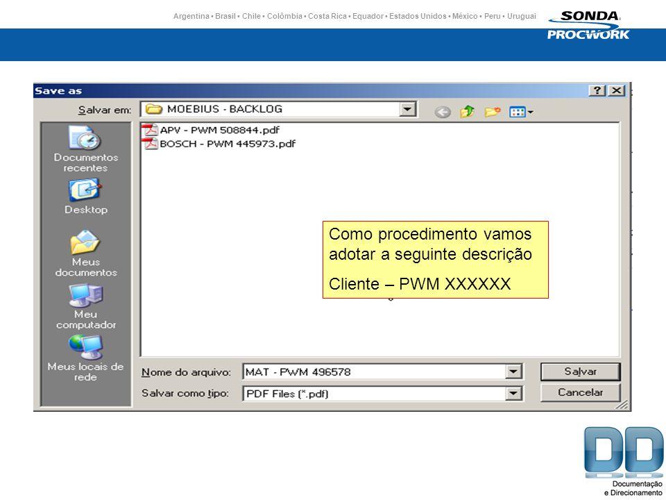 Argentina Brasil Chile Colômbia Costa Rica Equador Estados Unidos México Peru Uruguai Como procedimento vamos adotar a seguinte descrição Cliente – PWM XXXXXX