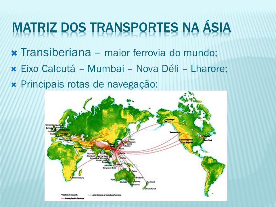 Transiberiana – maior ferrovia do mundo; Eixo Calcutá – Mumbai – Nova Déli – Lharore; Principais rotas de navegação: