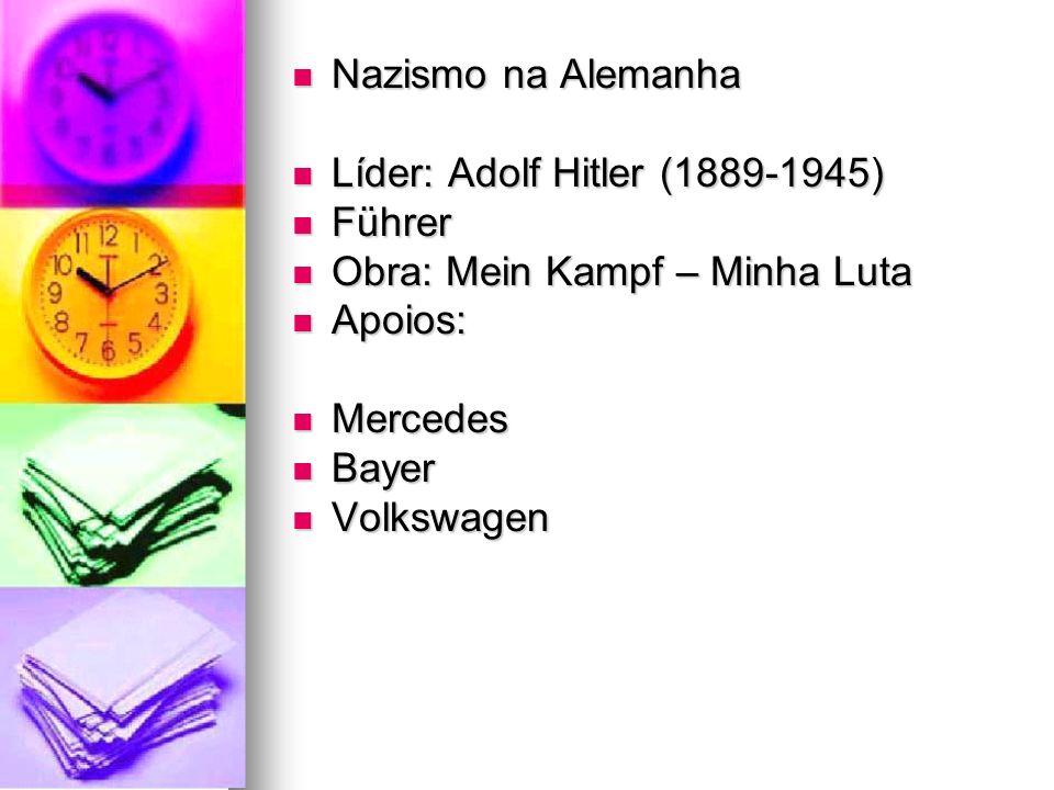 Nazismo na Alemanha Nazismo na Alemanha Líder: Adolf Hitler (1889-1945) Líder: Adolf Hitler (1889-1945) Führer Führer Obra: Mein Kampf – Minha Luta Ob