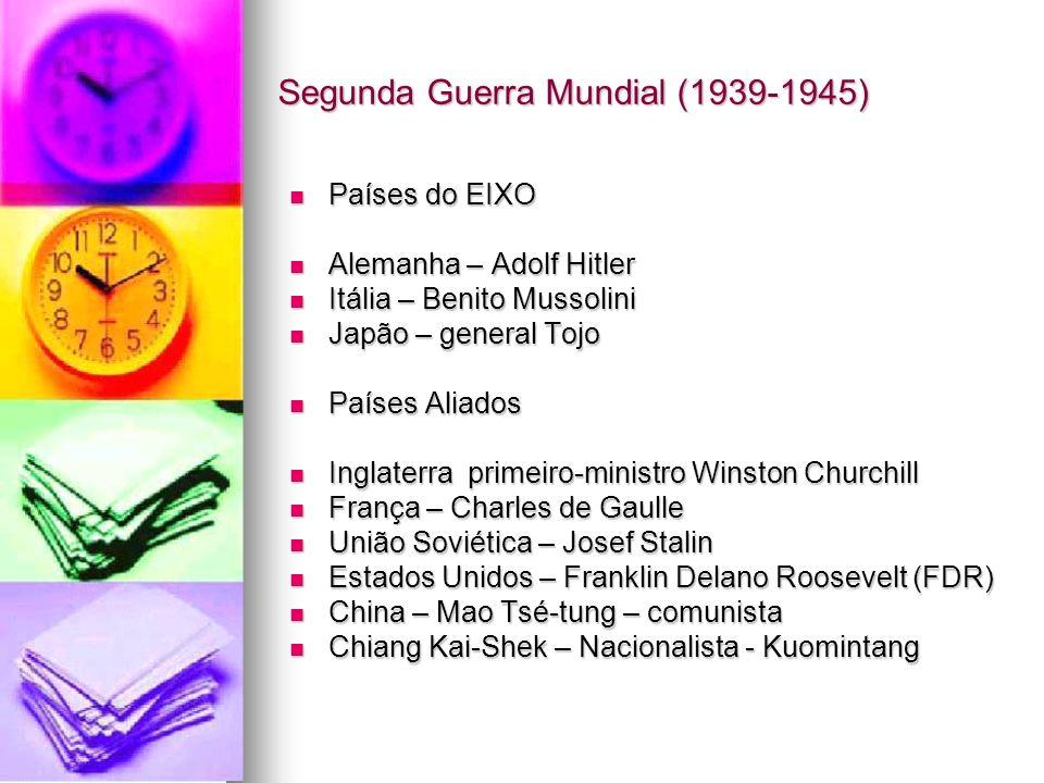 Segunda Guerra Mundial (1939-1945) Países do EIXO Países do EIXO Alemanha – Adolf Hitler Alemanha – Adolf Hitler Itália – Benito Mussolini Itália – Be