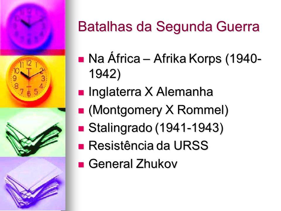 Batalhas da Segunda Guerra Na África – Afrika Korps (1940- 1942) Na África – Afrika Korps (1940- 1942) Inglaterra X Alemanha Inglaterra X Alemanha (Mo