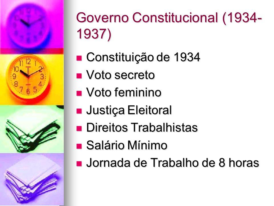 Governo Constitucional (1934- 1937) Constituição de 1934 Constituição de 1934 Voto secreto Voto secreto Voto feminino Voto feminino Justiça Eleitoral