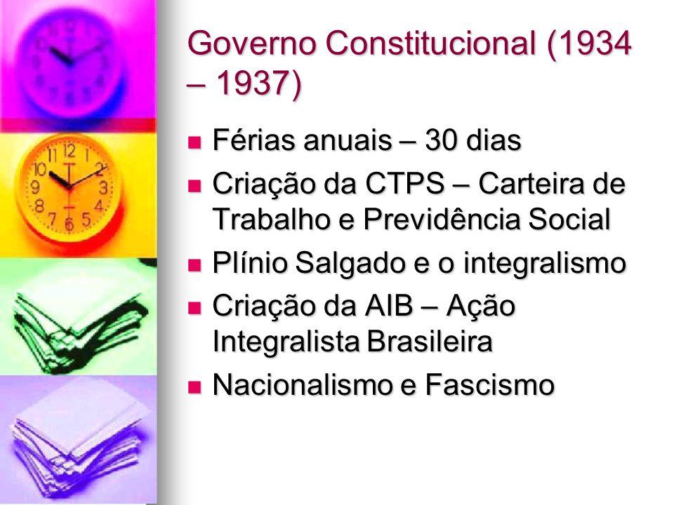 Governo Constitucional (1934 – 1937) Férias anuais – 30 dias Férias anuais – 30 dias Criação da CTPS – Carteira de Trabalho e Previdência Social Criaç