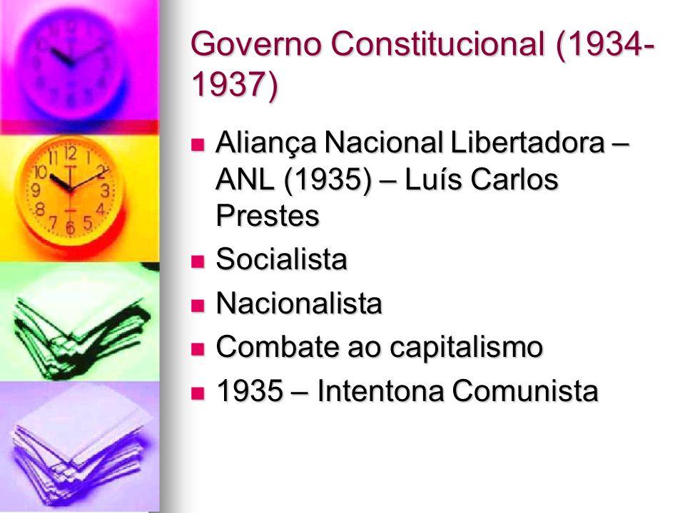 Governo Constitucional (1934- 1937) Aliança Nacional Libertadora – ANL (1935) – Luís Carlos Prestes Aliança Nacional Libertadora – ANL (1935) – Luís C