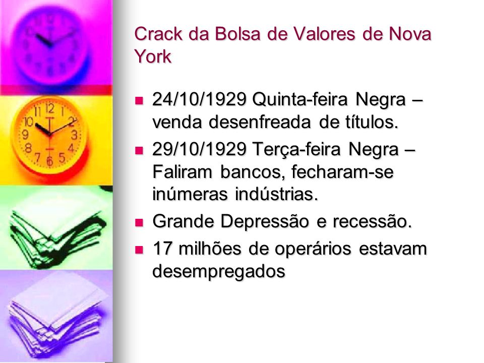 Crack da Bolsa de Valores de Nova York 24/10/1929 Quinta-feira Negra – venda desenfreada de títulos. 24/10/1929 Quinta-feira Negra – venda desenfreada