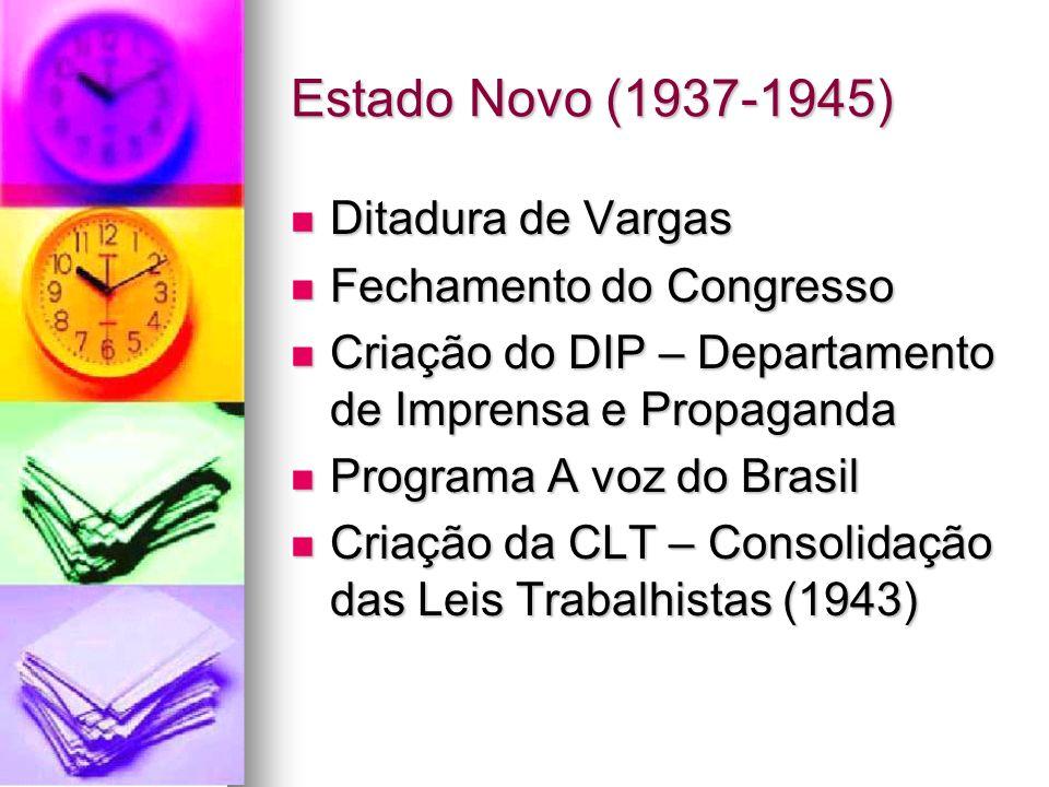 Estado Novo (1937-1945) Ditadura de Vargas Ditadura de Vargas Fechamento do Congresso Fechamento do Congresso Criação do DIP – Departamento de Imprens