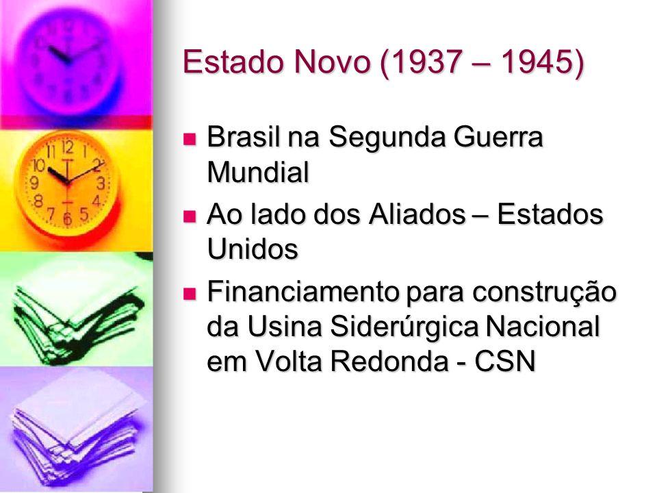 Estado Novo (1937 – 1945) Brasil na Segunda Guerra Mundial Brasil na Segunda Guerra Mundial Ao lado dos Aliados – Estados Unidos Ao lado dos Aliados –