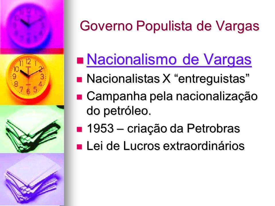 Governo Populista de Vargas Nacionalismo de Vargas Nacionalismo de Vargas Nacionalistas X entreguistas Nacionalistas X entreguistas Campanha pela naci