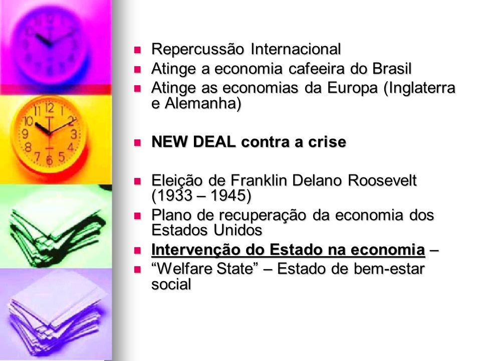 Repercussão Internacional Repercussão Internacional Atinge a economia cafeeira do Brasil Atinge a economia cafeeira do Brasil Atinge as economias da E