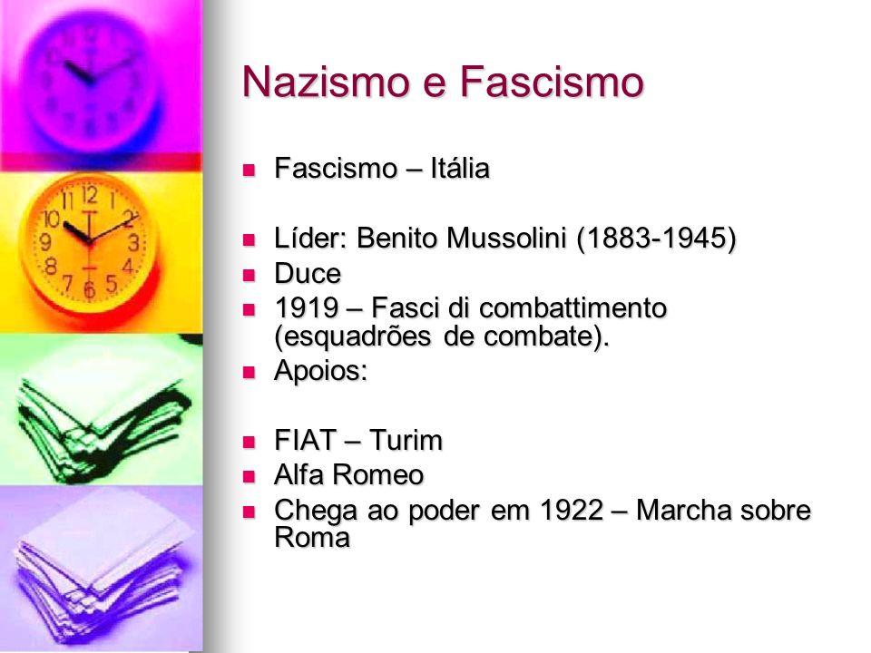 Nazismo e Fascismo Fascismo – Itália Fascismo – Itália Líder: Benito Mussolini (1883-1945) Líder: Benito Mussolini (1883-1945) Duce Duce 1919 – Fasci