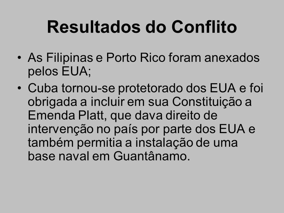 Resultados do Conflito As Filipinas e Porto Rico foram anexados pelos EUA; Cuba tornou-se protetorado dos EUA e foi obrigada a incluir em sua Constitu