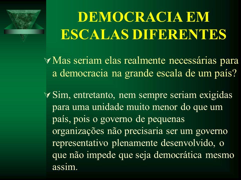 DEMOCRACIA EM ESCALAS DIFERENTES Mas seriam elas realmente necessárias para a democracia na grande escala de um país? Sim, entretanto, nem sempre seri