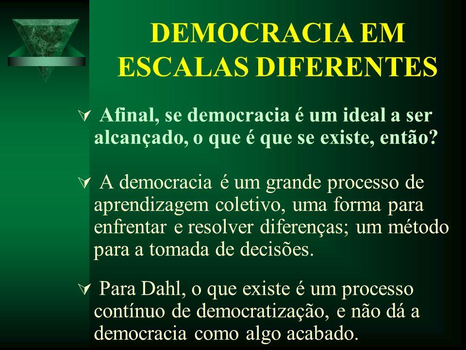 DEMOCRACIA EM ESCALAS DIFERENTES Afinal, se democracia é um ideal a ser alcançado, o que é que se existe, então? A democracia é um grande processo de